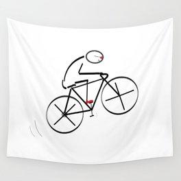 Stylized Bicyclist Wall Tapestry