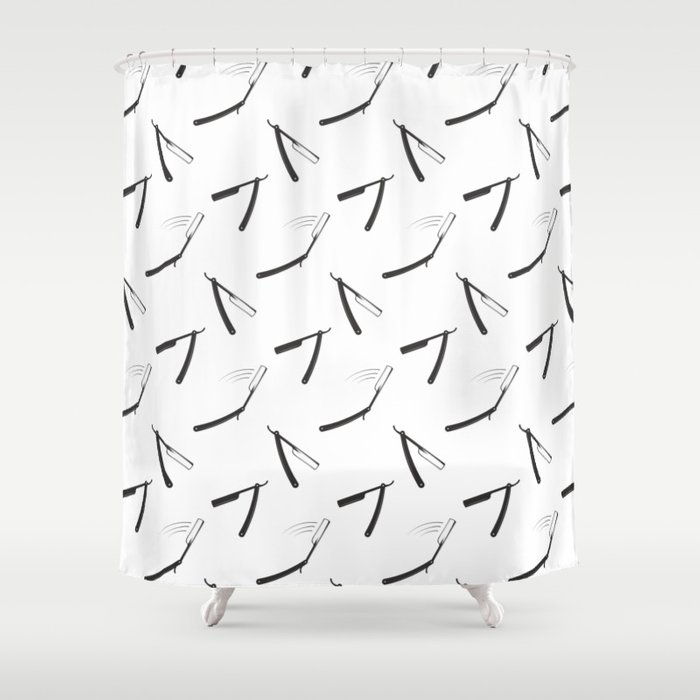 Barbershop Pattern With Shaving Razor Shower Curtain By Nikodonets