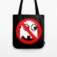 ghostbusters Tote Bags featuring Pacman Ghostbusters by dutyfreak