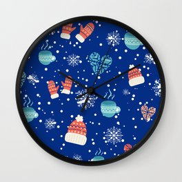 Winter Pattern Mittens Mugs Hearts Snow Flakes Wall Clock