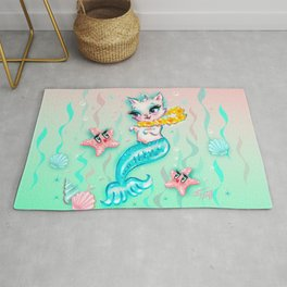 Tropical Merkitten with Lei and Starfish Rug