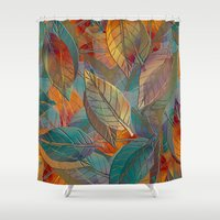 autumn Shower Curtains featuring Autumn Pattern by Klara Acel