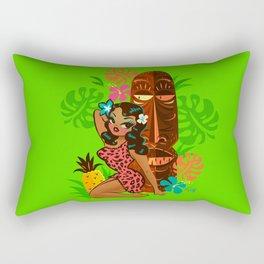Retro Tiki Temptress in PInk Leopard Print Rectangular Pillow