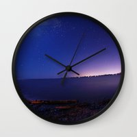 starry night Wall Clocks featuring Starry Starry Night by Anthony Leo Photography