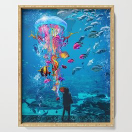 Electric Jellyfish in a Aquarium Serving Tray