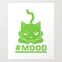 #MOOD Cat Green Art Print