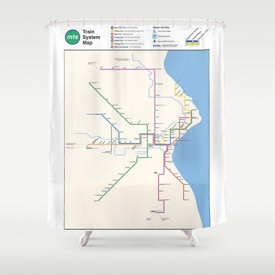 Milwaukee Transit System Map Shower Curtain