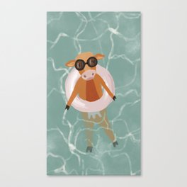 Moo in the Poo..l Canvas Print