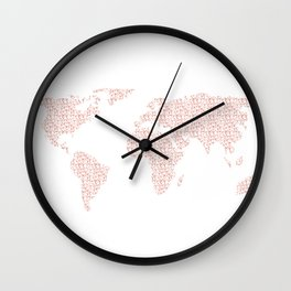 World Map Pink Rose Gold Hearts Love Wall Clock
