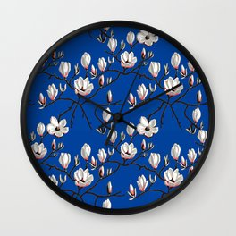 Magnolia blue floral Wall Clock