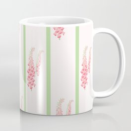 Stripes and Foxglove Pink and Green Repeat Pattern Coffee Mug