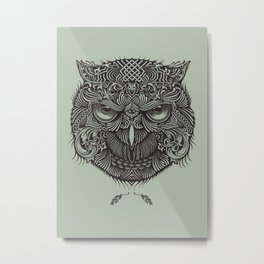 Warrior Owl Face Metal Print