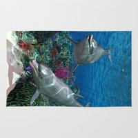 dolphins Area & Throw Rugs featuring Dolphins by Simone Gatterwe