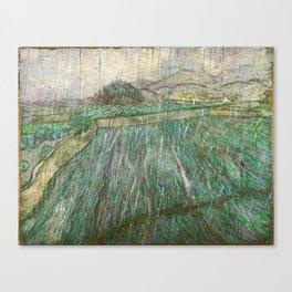 Vincent Van Gogh Wheat Field In Rain Canvas Print