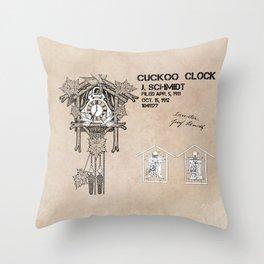 Cuckoo clock patent art Throw Pillow