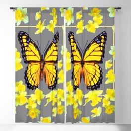 YELLOW MONARCH BUTTERFLY YELLOW DAFFODILS GREY ART Blackout Curtain