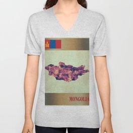 Mongolia Map with Flag Unisex V-Neck