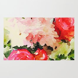 Floral Watercolor, with Off White Background Rug