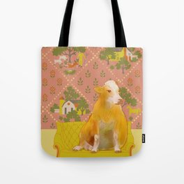 Farm Animals in Chairs #1 Cow Tote Bag