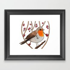 Christmas winter robin Framed Art Print