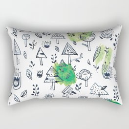 Green Trees Rectangular Pillow