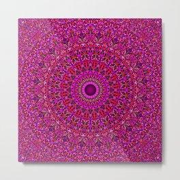 Deep Pink Garden Mandala Metal Print