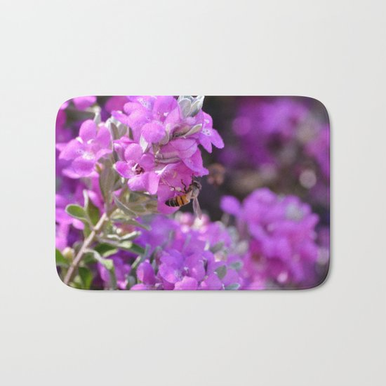 Bubble Bee on Lilac Flowers Bath Mat
