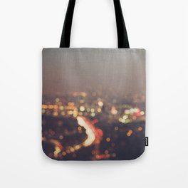 Los Angeles cityscape at night. Abstract Mulholland Tote Bag