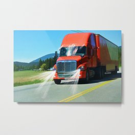 Big Red - Lorry Art for Truck-lovers and Truckers Metal Print