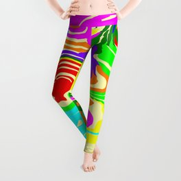 Bright flowing spots of colored lava lines on red. Leggings