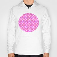 polka dots Hoodies featuring Pink Polka Dots 01 by Aloke Design