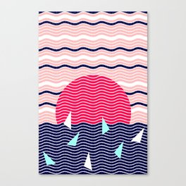 Hello Ocean Sunset Waves Canvas Print