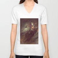 meme V-neck T-shirts featuring MEME 004 Merlin Aithusa by mushroomtale