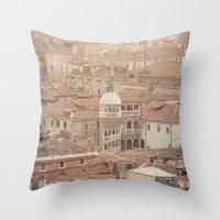 venice Throw Pillows featuring Venice by Yolanda Méndez