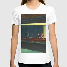 Portrait version NIGHTHAWKS downtown diner late at night iconic cityscape painting by Edward Hopper T-shirt