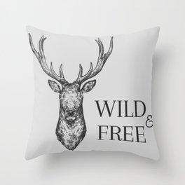 Grey Wild & Free Stag Traveller Deer Throw Pillow