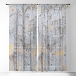 Rusty abstract metal with turquoise, orange and brown colors Sheer Curtain