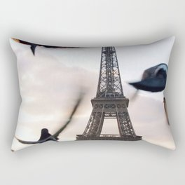 Paris Eiffel tower and flight of birds Rectangular Pillow