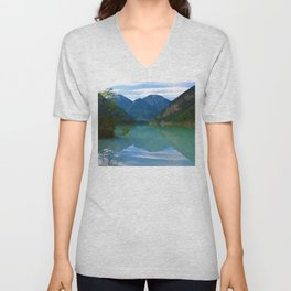 Morning Reflections on Kinney Lake in Mount Robson Provincial Park, British Columbia Unisex V-Neck