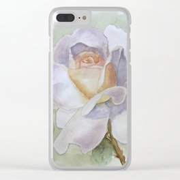 White Rose Watercolor Clear iPhone Case