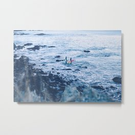 Winter Surfers Metal Print