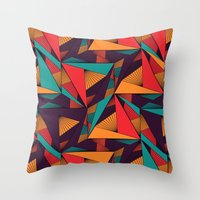 arya Throw Pillows featuring Hexagonal Lines and Triangles by Hinal Arya
