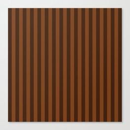 Chocolate Brown Stripes Pattern Canvas Print