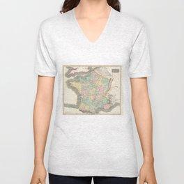 Vintage Map of France (1814) Unisex V-Neck