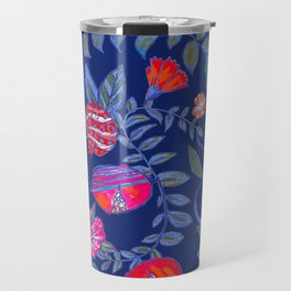 Pomegranate pattern electric blue Travel Mug
