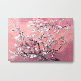 Van Gogh Almond Blossoms : Peachy Pink Metal Print