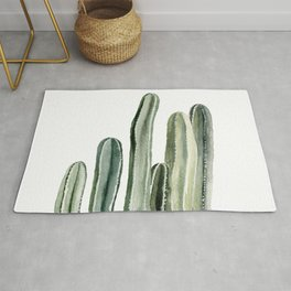 Tall Cacti Watercolor Painting Rug
