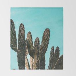 Cactus Photography Print {1 of 3} | Teal Succulent Plant Nature Western Desert Plants  Design Decor Throw Blanket