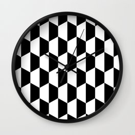 Black and white hexagons Wall Clock