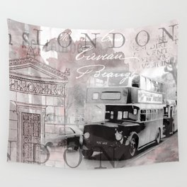 Vintage England London Britain Illustration Pastel Colors Wall Tapestry